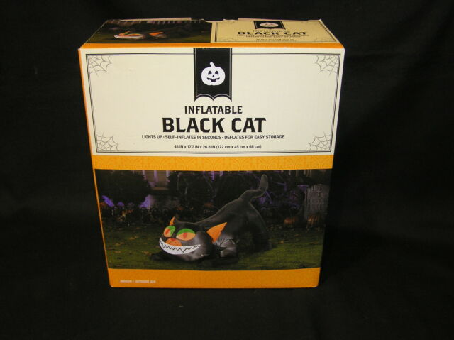 INFLATABLE 4 FT BLACK CAT KITTY TAIL UP AIRBLOWN LIGHTS UP HALLOWEEN YARD DECOR
