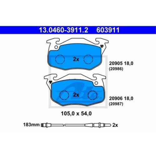 ATE Bremsbeläge 13.0460-3911.2 Bremsklötze Peugeot 205 II 20A//C