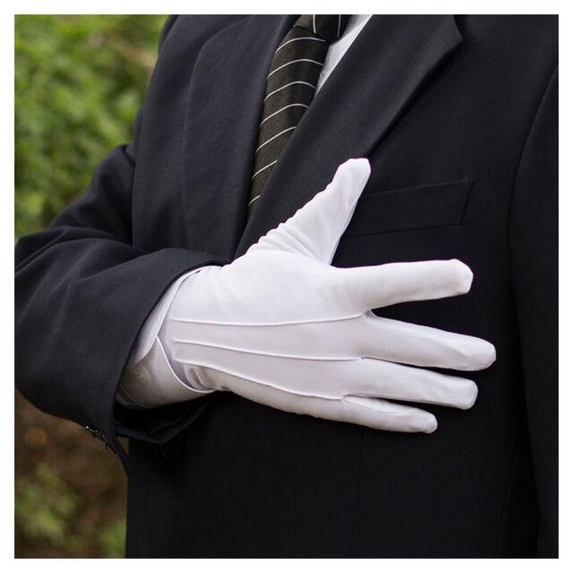 10 Pairs Mens White Formal Gloves Tuxedo Honor Guard Parade Santa Inspection