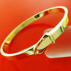 99a13e2cb4242 Bangle Bracelet 18k Yellow G/F Solid Gold Ladies Hinged Belt Buckle ...