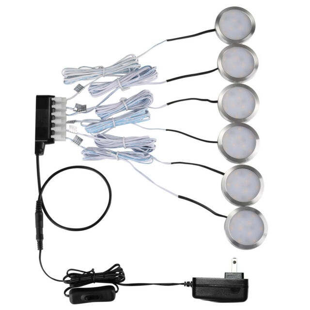 LE 6 Pack LED Under Cabinet Lighting Kit 1020lm Puck Lights 5000K Daylight  White