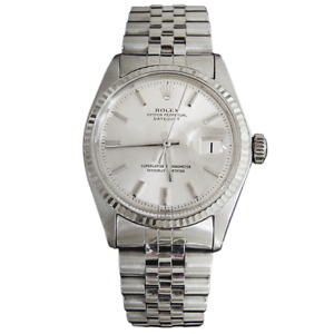 Rolex Datejust Mens SS Stainless Steel & 18K White Gold Jubilee Silver Dial 1601