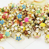 3Pcs Multicolor Flower Copper Bells Loose Beads Xmas Jingle Bells Pendants 12mm