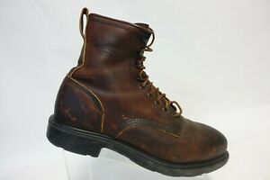 RED-WING-SHOES-4451-Brown-Sz-11-D-Men-Steel-Toe-Oil-Resistant-Leather-Work-Boots