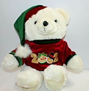 Kmart-Dan-Dee-Christmas-Bear-Plush-White-Polar-Velvet-Sweater-Cap-2002