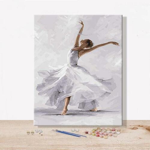 Dancing Girl Propylene Painting By Numbers Artwork Ballet Dance Wall Arts Decors