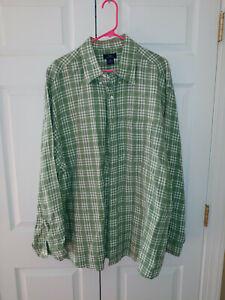 Men Brooks Brothers 346 Green Plaid Linen Long Sleeve Button Down Shirt Size XXL