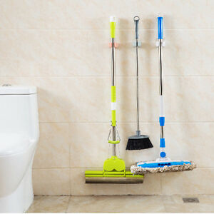 Image Is Loading Kitchen Mop Broom Holder Wall Mounted Organizer Brush