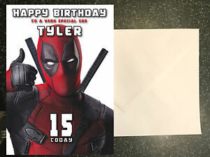 Deadpool birthday card personalised a5 large any name age ebay image is loading deadpool birthday card personalised a5 large any name bookmarktalkfo Choice Image