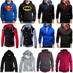 Men-Hooded-Hoodie-Coat-Jacket-Outwear-Sweater-Fit-Jumper-Zipper-Pullover-Tops-US