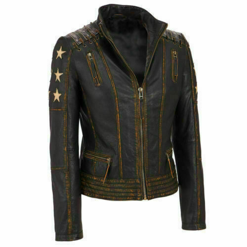 Women's Cafe Racer Slim Fit Stars Distressed Brown Classic Biker Leather Jacket