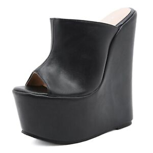 Ladies High Wedge Heel Platform Peep Toe Mules Faux Leather Sexy Sandals Party