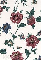 Floral Rose Gold Blue Flower Vine Vtg Fabric Backed Vinyl Db Roll Wall Wallpaper