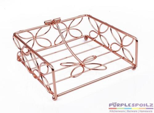 1 of 1 - NEW COPPER FLORAL NAPKIN HOLDER Serviette Basket Tray Vintage Retro Metal Table