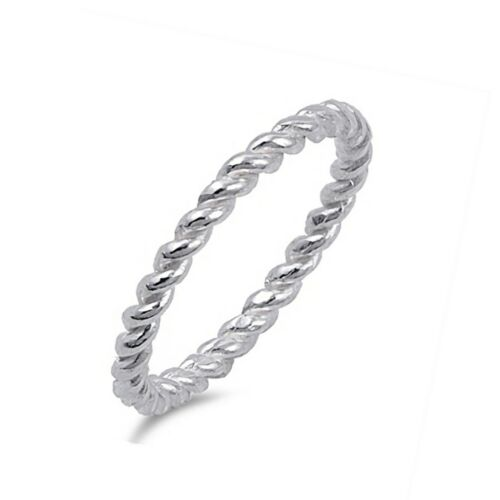 Simple 2mm Stackable Rope Ring Thumb Twist Sterling Silver Band Sizes 4-10