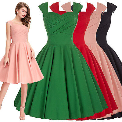 50's 60's Retro Vintage Swing Pinup Evening Cocktail Prom Party Dress