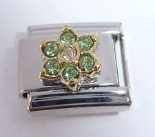 LIGHT GREEN FLOWER GEM Italian Charm August Birthstone fits Classic Bracelets