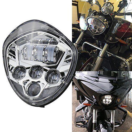 Custom Chrome LED Headlight for Victory Magnum, Hammer Vegas Motorcycle Daymaker