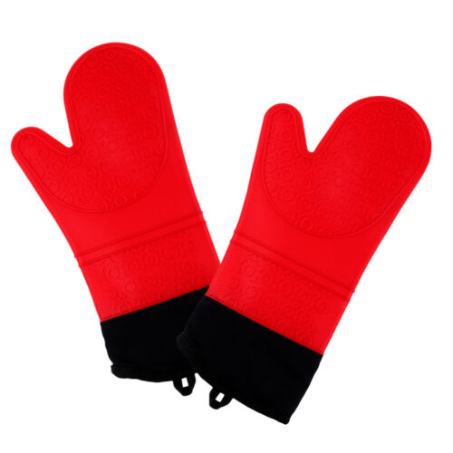 2pcs Silicone Oven Cooking Mitts Glove Outdoor Cooking Grilling Heat Resist