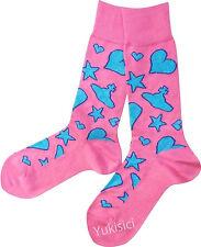 Vivienne Westwood Men Japan Wool Socks w/Orb Skull Star & Heart-Blue-25-27cm