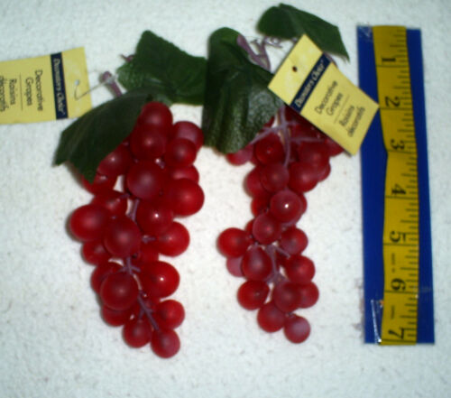 "Set of 2   6/"" Long Soft Rubber Grape Clusters in Deep Red"