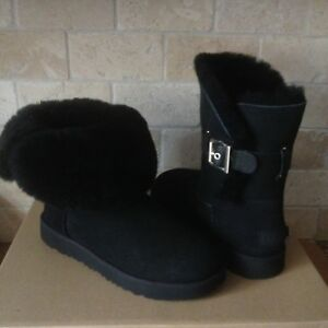 0b611f6547c Details about UGG Jaylyn Black Suede Sheepskin Cuff Buckle Ankle Short  Boots Size US 12 Womens