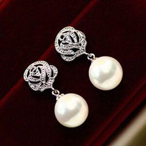 Women-Eardrop-Rose-Flower-Pearl-Ear-Stud-Earrings-Wedding-Jewelry-Gift-Lovely