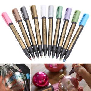 Details About 10 Colors Metallic Paint Marker Pens Metallic Sheen Glitter Calligraphy Arts Diy