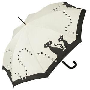 Regenschirm-Stockschirm-Damen-Automatik-weiss-creme-Motiv-schwarze-Katzen