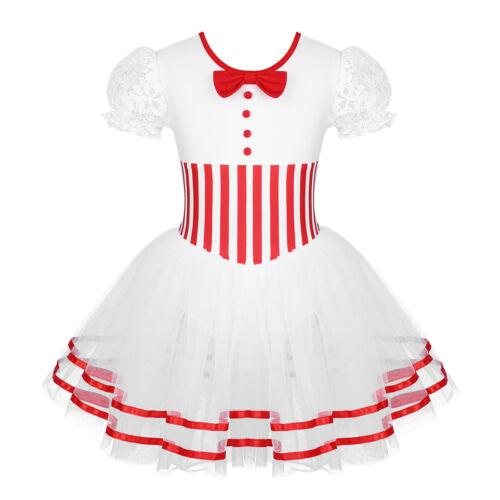 UK Girl Ballet Puff Sleeve Dance Dress Leotard Skating Clothes Christmas Costume