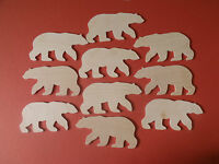 10 birch ply wooden Christmas polar bear gift tag decoration  (NOT MDF)