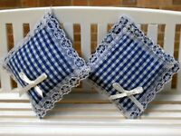 Pair Of Cushions Blue Gingham, Dolls House Miniature, Soft Furnishings, 1.12th
