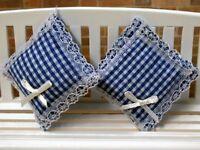 Pair Of Cushions Blue Gingham, Dolls House Miniature, Soft Furnishings, 1.12th