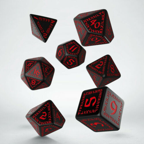 7 srun 06 Q-workshop Entièrement neuf dans sa boîte RUNIQUE Noir /& rouge dés de jeu