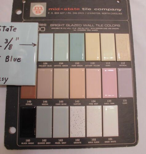 """1 pc Vintage Glossy *Light Blue* Ceramic Tiles 4-3//8/"""" by Mid-State Co NOS"""