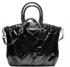 Coach Madison Diagonal Pleat LINDSEY Patent Leather BLK ! Retail 548.00! L@@k!!