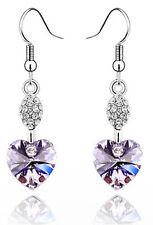 Austrian Crystal Light Violet Heart Shaped Rhinestone Drop Dangle Earrings E265