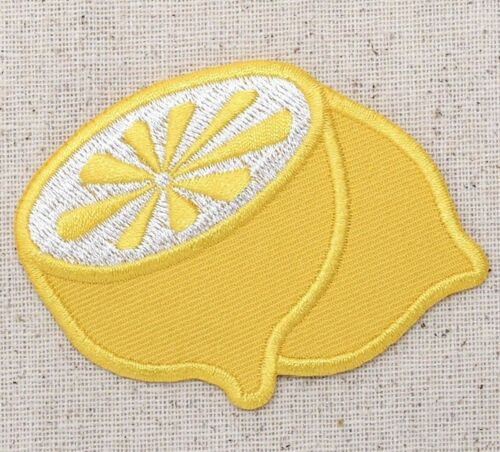 Yellow Lemon Fruit//Food Sliced in Half Iron on Applique//Embroidered Patch