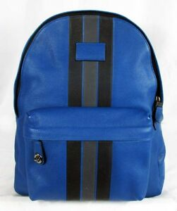 6753fd7dfd4 Image is loading COACH-CAMPUS-Varsity-Stripe-Pebble-Leather-LG-Backpack-