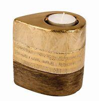 Moderner Teelichthalter Teelichtleuchte Aus Keramik Gold/braun Höhe 10 Cm B 7 Cm