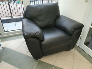 Genuine Black Leather Sofa Chair