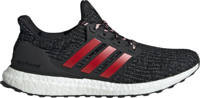 c6bdbd2a169a8 adidas Ultra Boost 4.0 Mens Running Shoes Black Red Cushioned Trainers  Sneakers