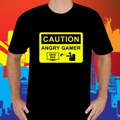 Caution Angry Gamer Funny Arcade Video Game Men/'s Black T-Shirt Size S to 3XL