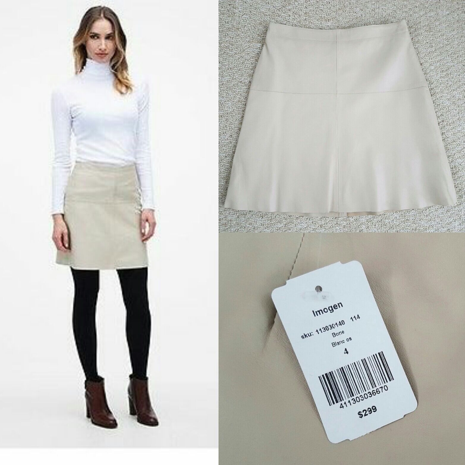NWT Danier genuine lamb leather bone cream skirt size 4 (fits XS, S)  299