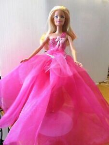 Barbie-Doll-Blonde-Hair-Pink-Costumed-Body-with-Long-Pink-Tulle-Skirt-amp-shoes