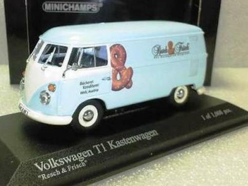 ULTRA RARE MINICHAMPS VW T1 DELIVERY VAN RESCH FRISCH 1 43 1 OF 1008 MINT IN BOX