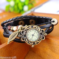 Gift 1PC Fashion Leaf Pendant Leather Weave Women Ladies Bracelet Wrist Watch