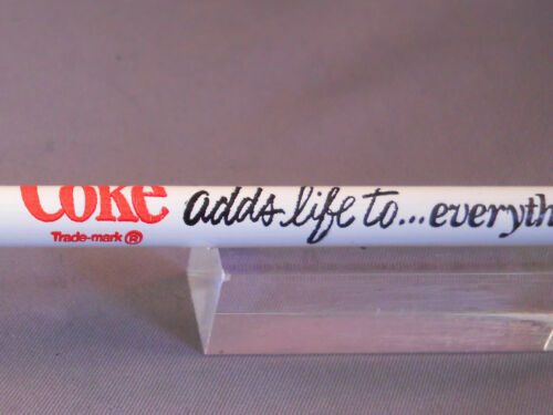 "Coke vintage white wooden pencil--/""Coke adds life to...everything nice/""  logo"