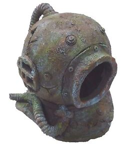 Supa deep sea divers helmet aquarium ornament fish tank for Aquarium scuba diver decoration