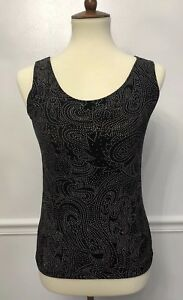 Chicos-Travelers-Womens-Tank-Top-Sleeveless-Shirt-Black-Sparkle-Stretch-0-Small